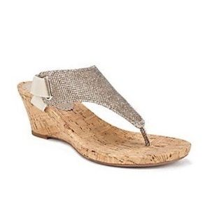 White Mountain All Good Gold Glitter Wedge Sandal